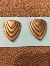 Earrings Made In Usa (Bl) Handmade Handcrafted Gold Toned Design Pierced