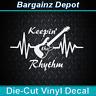Vinyl Decal * GUITAR Heartbeat Pulse * Keepin' The Rhythm Guitarist Car Sticker