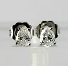 Diamond stud earrings 14K white gold 2 G color pear brilliant .71CT new studs!!