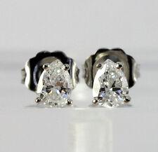 Diamond stud earrings 14K white gold 2 G color pear brilliant .71CT new studs!!