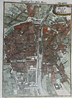 Paris France detailed city plan 1719 Mallet charming little hand colored map