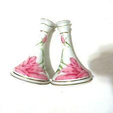 """Givenchy Rose Candlesticks Candle Hollder 5x7"""" Franklin Mint Porcelain 1987"""