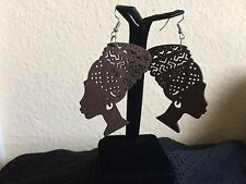 Nefertiti Egyptian Africa Wood Afrocentric Earrings