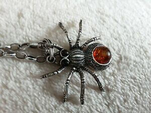 Fabulous Articulated Silver & Amber Spider Necklace HALLOWEEN