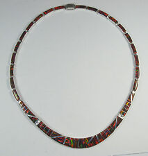 """.950 fine silver red opal necklace long curved centerpiece 17"""" long"""
