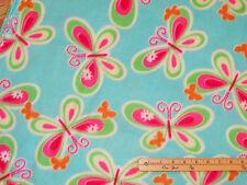 Teal Rainbow Butterfly Fleece Fabric  by the Yard