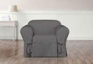 NEW Sure Fit Essential Twill Straight Skirt One Piece Chair Slipcover smoke gray
