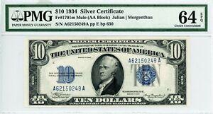 $10 1934 Silver Certificate  Fr#1701m Mule (AA Block)  A62150249A  PMG 64 EPQ
