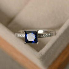 1.40 Ct Princess Blue Sapphire Diamond Wedding Ring 925 Sterling Silver Size O P