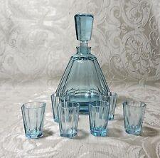 Bottiglia Art Deco 2 6 bicchierini cristallo aquamarina Moser Cecoslovacchia