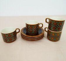 Hornsea Bronte - Vintage Pottery - Set of 4 - Teacups & Saucers  - Brown & Green