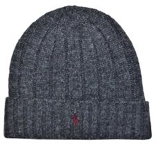 NEW Polo Ralph Lauren Men Woman's Winter Wool Beanie Hat Charcoal - BROWN - Logo