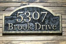 Custom Address Sign  Carved Antique Brass Finished Large Wood Plaque