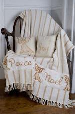 "Noel Nostalgia Stencil Angel Throw Woven 50x60"" Christmas Primitive Decoration"