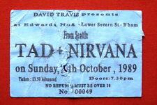 NIRVANA / TAD ULTRA RARE ORIGINAL TICKET STUB 29.10.1989 UK TOUR KURT COBAIN