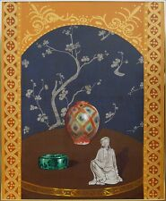 "Ismael V. Ribera ""Oriental Ivory Buddha"" Original Oil Painting Canvas MAKEOFFER"