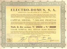 Spain bond 1960 Electrodomus Co Barcelona 10000 pesetas