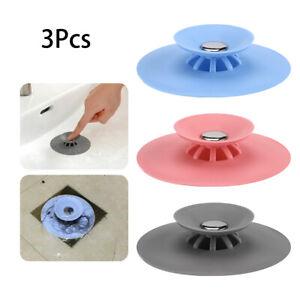 3Pcs Rubber Bath Tub Sink Floor Drain Plug Kitchen Water Laundry Stopper Cap