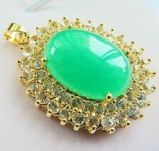 Fashion Jewelry 18k GP Alloy With Green Jade Dragon Oblong-Shape Pendant 46mm H