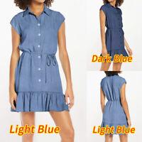 Size Women Holiday Short Sleeve Denim Mini Dress Summer Beach Ruffle Sundress UK