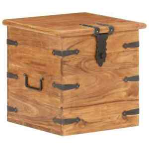 Industrial Storage Chest Rustic Metal Solid Wooden Box Vintage Retro Trunk Unit