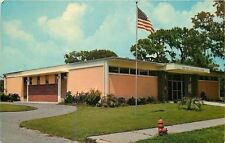 New Port Richey Florida~Public Library~Circle Drive~1950s Postcard