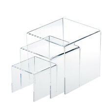 3pcs Square Acrylic Transparent Display Stands Showcase Kit Makeup Holder Base