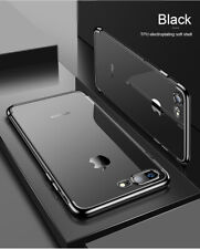 For iPhone XR X XS Max 7 8 Plus Plating Case Transparent Soft Shockproof Case