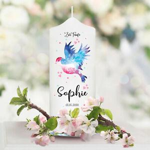 Patenkerze Junge Mädchen Patenkerze Vogel Baby Rosa Blau weiß Taufe Name Datum