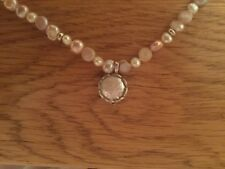 """Beautiful Pearl And Silver Necklace 17"""" New"""