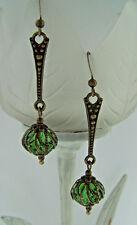 Estilo Vintage colgantes pendientes STEAMPUNK Deco Verde