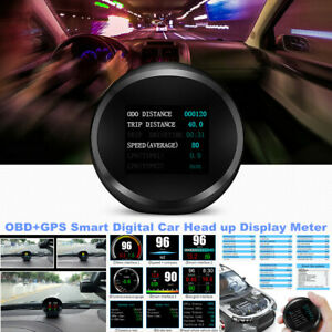 Car Headup Device OBD+GPS Smart Digital Fault Code Clear LCD Meter HUD Speed RPM