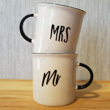 Set of 2 Mr & Mrs Ceramic Mugs in Gift Box Couple His & Hers Coffee Cups Wedding