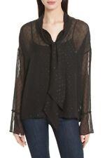 New Black Theory Metallic Silk Scarf Shirt Size Petite MSRP $315