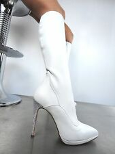 GIOHEL ITALY KNEE HIGH HEELS BOOTS STIEFEL STIVALI REAL STRETCH PELLE BIANCO 36