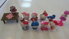 Lot Of 8 Hello Kitty Mini Figures + Table