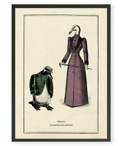 Funny Penguin Vintage Surreal Gothic Wall Print Teacher Gift