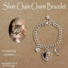 Norwegian Forest Cat - Charm Bracelet Silver Chain & Heart