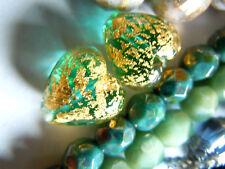 Marine Aqua Gold Foil Ca´d´Oro -kleine Herz-Perlen aus Murano -12mm-