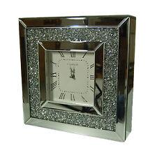 Diamond Crystal Bevelled stunning Mirror clock Stylish Decoration 34X34cm Square