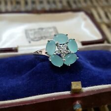 925 STERLING SILVER RING, AQUA CHALCEDONY & WHITE TOPAZ, SIZE Q, EXCELLENT