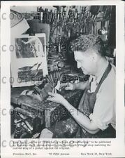 1953 Author Woodcarver John Lacey in His Greenwich Village Shop Press Photo