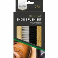 Boot Shoe Brush Traditional 2pc Polish Buffing Buff Shine Leather Clean Smart UK