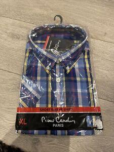 BNWT Pierre Cardin Mens Short Sleeve Check Shirt Size XL Smart