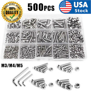 Full Thread HELIFOUNER 1280 Pieces Button Head Socket Cap Screw Bolts Flat Washers and Nuts Assortment Kit M2 M3 M4 M5 Stainless Steel 304