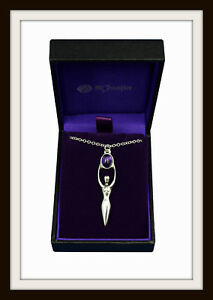 GODDESS PENDANT ~ PEWTER & AMETHYST PENDANT NECKLACE ~ FROM ST. JUSTIN  FREE P&P