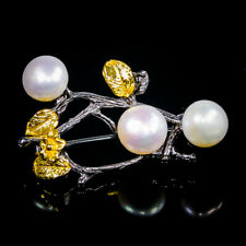 Fine Art Natural Pearl 925 Sterling Silver Brooch /NB07076