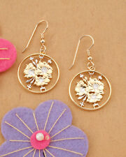 "Japanese Cherry Blossum Earrings, Hand Cut Japan Coins,3/4"" in Dia.( # 213E )"