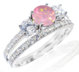 White Gold Plated Pink Fire Opal Engagement Wedding Sterling Silver Ring Set