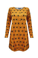 New Womens Halloween Dress Ladies Printed Long Sleeve Swing Dress Plus Size 8-26